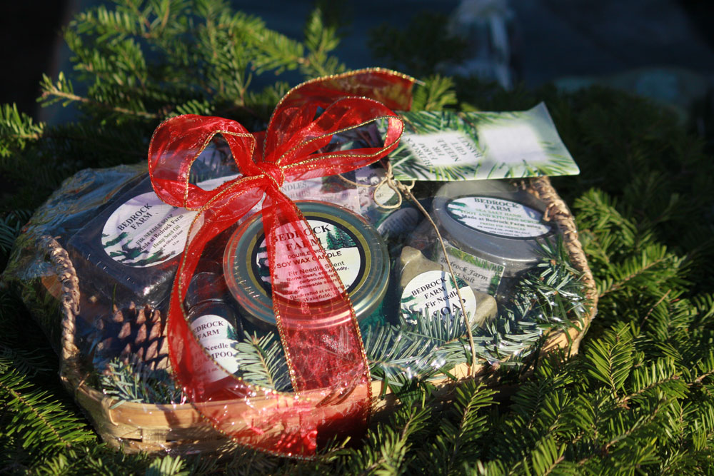 Gift Basket with Candles, Soaps and Salt Scrub