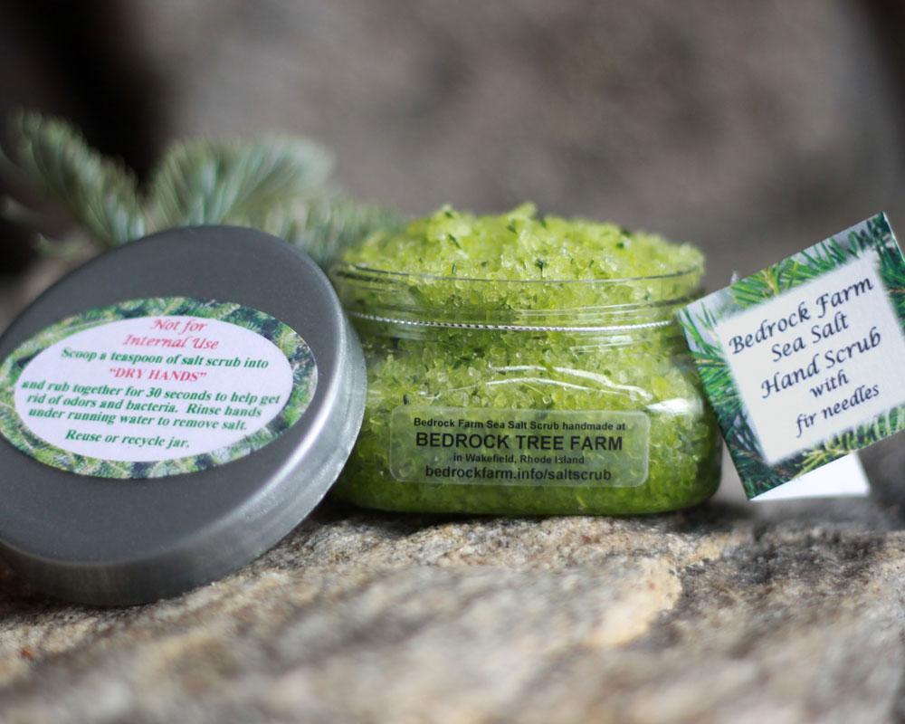 Sea Salt Scrub made with fresh fir needles